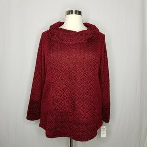 Style & Co Sweaters - Style & Co Red Geometric Cowl Sweater POCKETS
